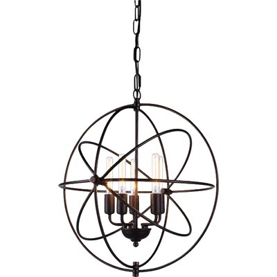 Hamby 5-Light Globe Pendant Finish: Polished Nickel