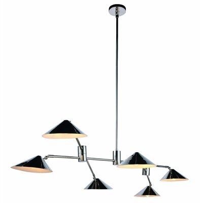Donte 6-Light Pool Table Light Finish: Polished Nickel
