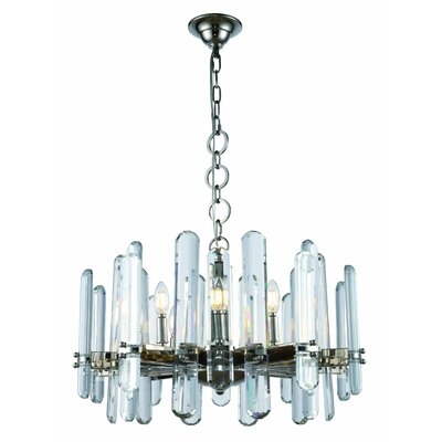 Lincoln 10-Light Candle-Style Chandelier Size: 77 H x 25 W x 25 D, Finish: Polished Nickel