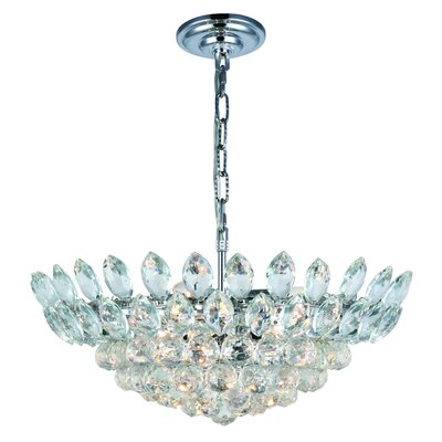 Glendora 10-Light LED Bowl Pendant Finish: Chrome