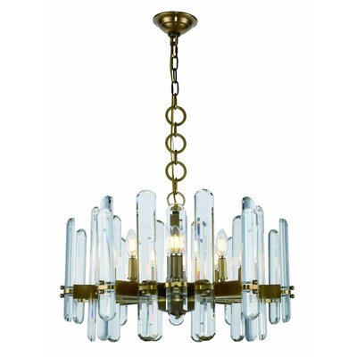 Lincoln 10-Light Candle-Style Chandelier Finish: Burnished Brass, Size: 77 H x 25 W x 25 D