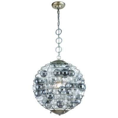 Simkins 1-Light Globe Pendant Finish: Antique Silver Leaf