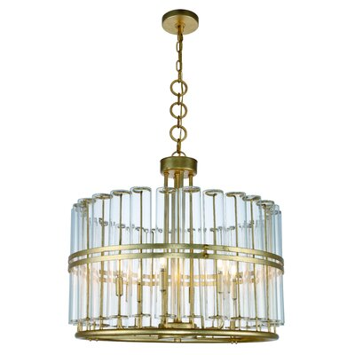 Tiemann 6-Light LED Foyer Pendant Finish: Antique Gold Leaf