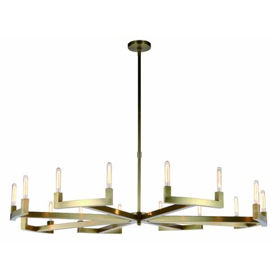 Donnell 16-Light LED Candle-Style Chandelier Finish: Bronze, Size: 71 H x 72 W x 72 D
