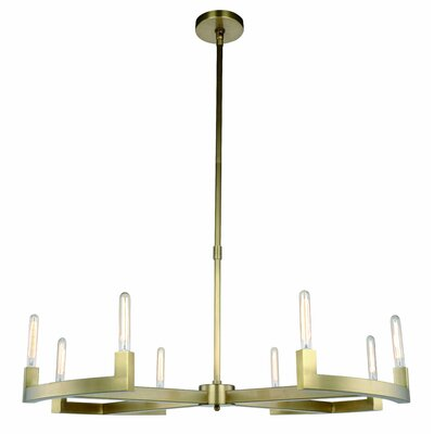 Donnell 8-Light LED Candle-Style Chandelier Finish: Burnished Brass