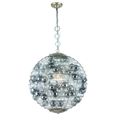 Simkins 1-Light LED Metal Shade Globe Pendant Finish: Antique Silver Leaf