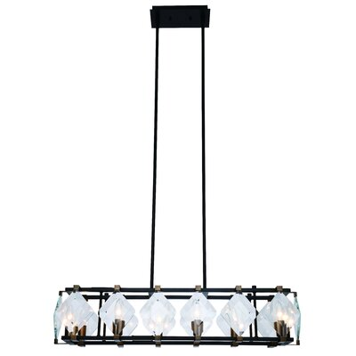 Everalda�8-Light Kitchen Island Pendant Finish: Burnished Brass/Flat Black