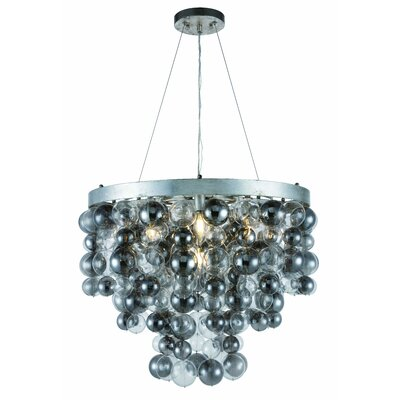 Stansberry 7-Light LED Crystal Pendant Finish: Antique Silver Leaf, Size: 82 H x 32 W x 32 D