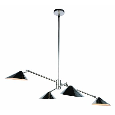 Donte 4-Light LED Pool Table Light Finish: Polished Nickel