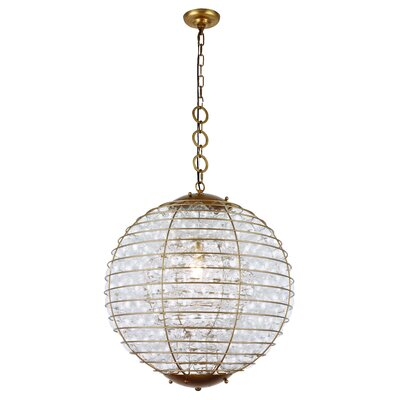Simkins 1-Light LED Metal Shade Globe Pendant Finish: Antique Gold Leaf