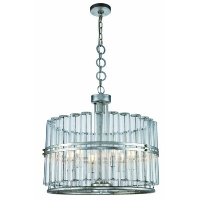 Piper 6-Light Drum Pendant Finish: Antique Silver Leaf