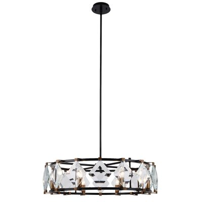 Everalda�8-Light Drum Pendant Finish: Burnished Brass/Flat Black