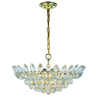 Vesper 10-Light Crystal Pendant Finish: Gold