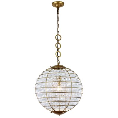 Simkins 1-Light Globe Pendant Finish: Antique Gold Leaf