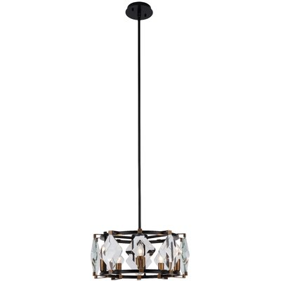 Everalda�5-Light Drum Pendant Finish: Burnished Brass/Flat Black