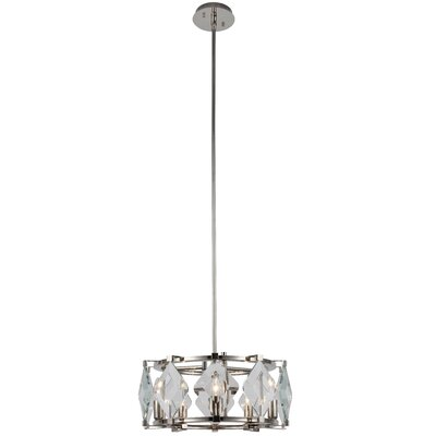Everalda�5-Light Drum Pendant Finish: Polished Nickel
