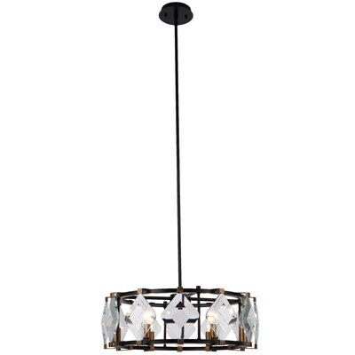 Everalda�6-Light Drum Pendant Finish: Burnished Brass/Flat Black