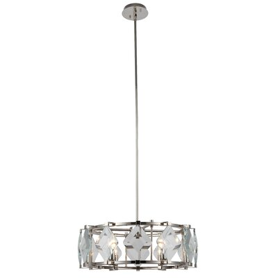 Everalda�6-Light Drum Pendant Finish: Polished Nickel