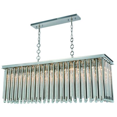 Pavie 10-Light LED Kitchen Island Pendant Finish: Polished Nickel