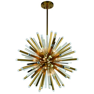 Pavie 21-Light Sputnik Chandelier Finish: Burnished Brass, Size: 94 H x 48 W x 48 D
