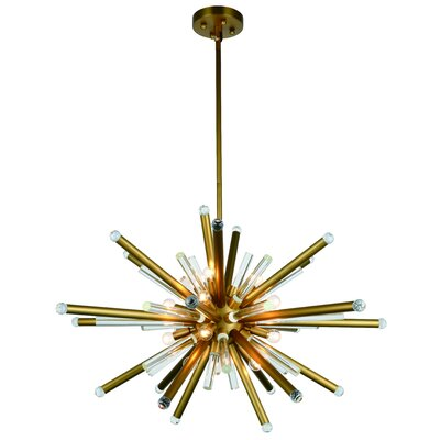 Pavie 14-Light LED Sputnik Chandelier Finish: Burnished Brass