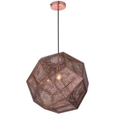 Bullis 1-Light Geometric Pendant Finish: Copper, Size: 60 H x 19 W x 19 D