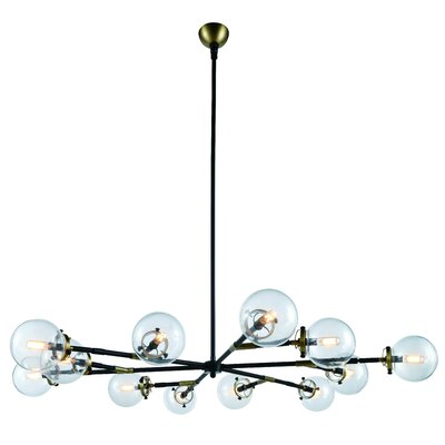 Roman 12-Light LED Sputnik Chandelier Finish: Burnished Brass/Flat Black