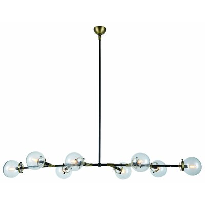 Leda 8-Light Sputnik Chandelier Finish: Burnished Brass/Flat Black