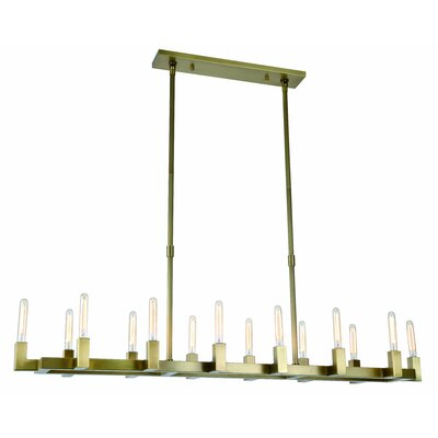 Donnell 14-Light LED Kitchen Island Pendant Finish: Burnished Brass