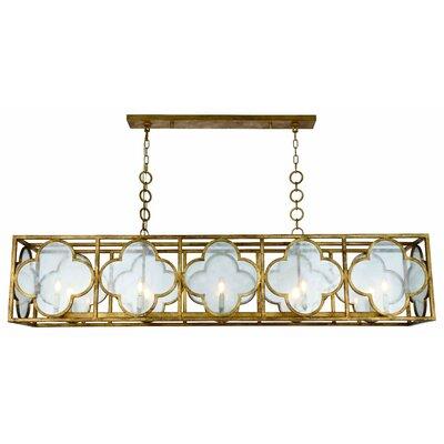 Angelo 10-Light LED Glass Kitchen Island Pendant Finish: Golden Iron