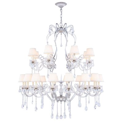 Merissa 24-Light Shaded Chandelier Finish: Vintage Silver