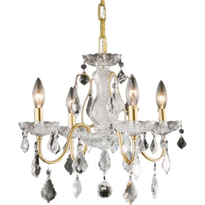 Thao 4-Light Crystal Chandelier Finish: Gold, Crystal Trim: Royal Cut
