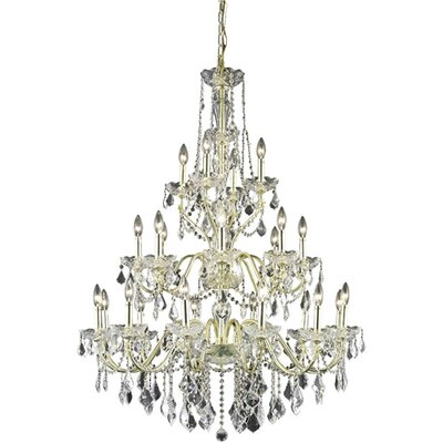 Thao 24-Light Crystal Chandelier Finish: Gold, Crystal Grade: Elegant Cut