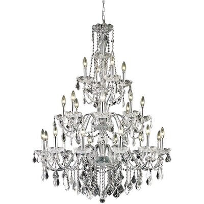 Thao 24-Light Crystal Chandelier Finish: Chrome, Crystal Grade: Elegant Cut