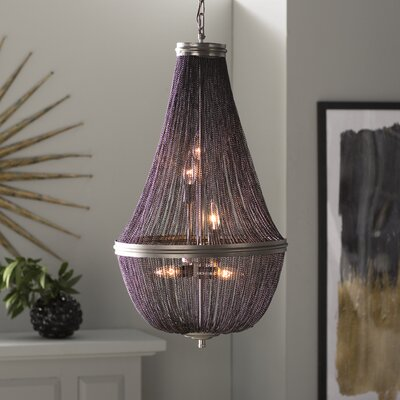 Corundum 6-Light Crystal Pendant Finish: Dark Grey, Size: 22.5 H x 14 W x 14 D