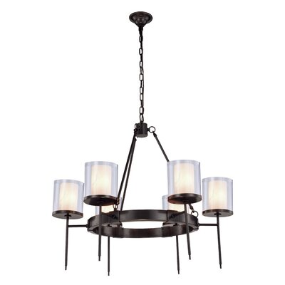 Simmon 6-Light Shaded Chandelier Finish: Bronze