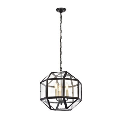 Burkeville 3-Light Foyer Pendant Finish: Black