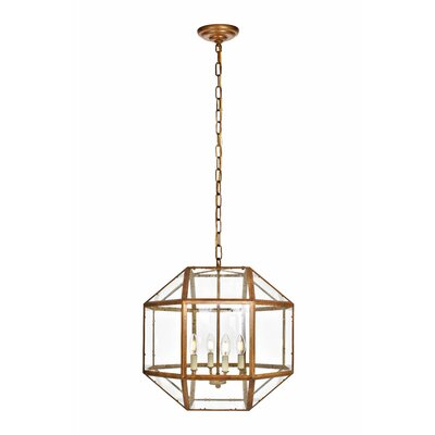 Burkeville 4-Light Foyer Pendant Finish: Vintage Gold