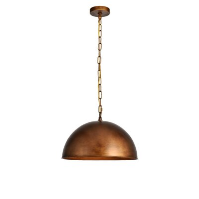 Emmaleigh 1-Light Inverted Pendant Finish: Brass, Size: 12.75 H x 20 W x 20 D