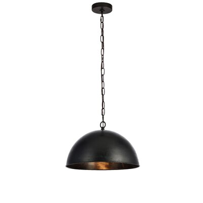 Emmaleigh 1-Light Inverted Pendant Finish: Vintage Black, Size: 10 H x 15 W x 15 D