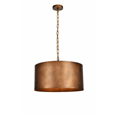 West Sacramento 3-Light Drum Pendant Finish: Brass