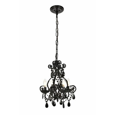 Burcott 4-Light Mini Chandelier Finish: Polished Black