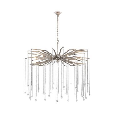 Delesha 6-Light Candle-Style Chandelier Finish: Antique Silver