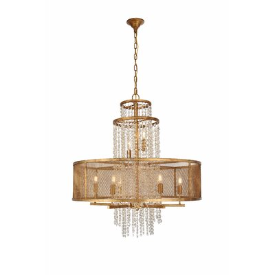 West Vero 8-Light Drum Chandelier Finish: Golden, Size: 97.5 H x 32 W x 32 D