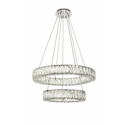 Anessa Metal LED Crystal Pendant Size: 80 H x 23.6 W x 23.6 D