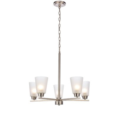 Alderete 5-Light Candle-Style Chandelier Finish: Brushed Nickel