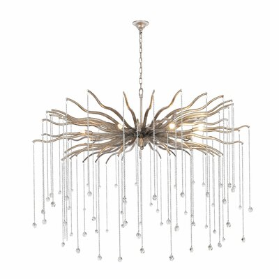 Delesha 8-Light Candle-Style Chandelier Finish: Antique Silver, Size: 96.87 H x 48 W x 48 D