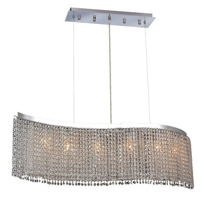 Moda 6-Light Kitchen Island Pendant Crystal Color / Crystal Trim: Crystal (Clear) / Royal Cut