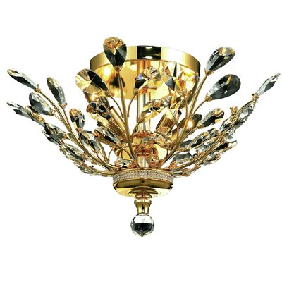 Gila 4-Light Semi Flush Mount Fixture Finish: Gold, Crystal Grade: Elegant Cut