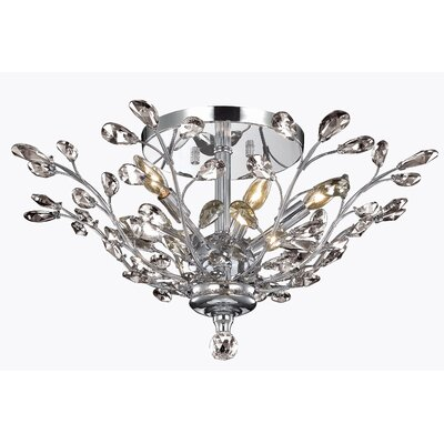 Gila 6-Light Semi Flush Mount Fixture Finish: Chrome, Crystal Grade: Royal Cut